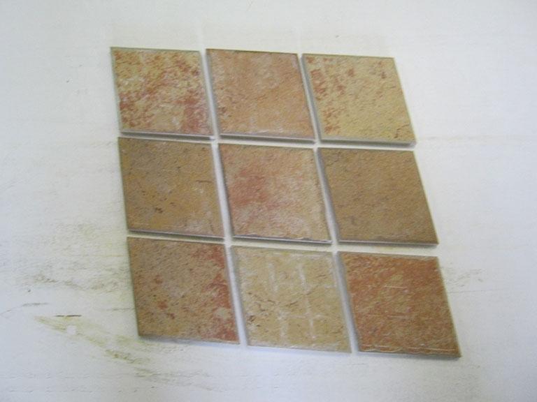 """0021--""""Rambo""""- Teglsten - Italien Flerfarvet meleret Rombeformet - 12x12cm 9 m² - Kr.400,-"""
